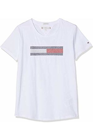 Tommy Hilfiger Girl's Lurex Flag Embroidery Tee S/s T-Shirt, Bright 123