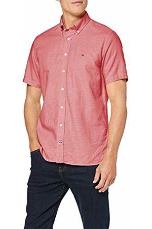 Tommy Hilfiger Men's Cotton Linen Dobby Shirt S/S Casual (Haute 611)
