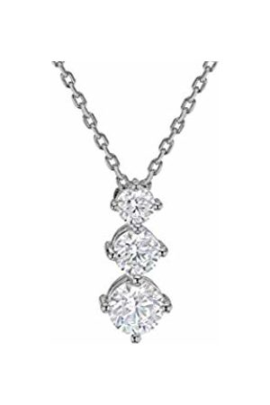 """Tuscany Silver Sterling Rhodium Plated Graduated Trilogy Cubic Zirconia Pendant on Adjustable Chain Necklace of 39.5cm/15.5""""-42cm/16.5"""""""