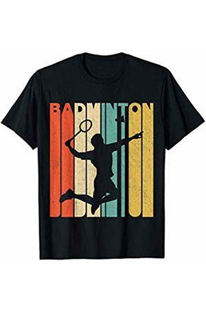 Classic Vintage Retro T-Shirts Vintage Retro Badminton Silhouette T-Shirt
