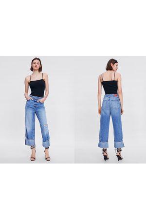 Zara Z1975 ripped wide-leg jeans