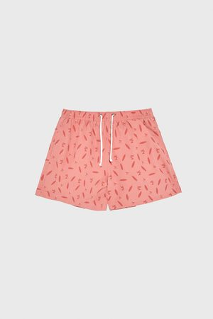 Zara Surfboard print swimming trunks