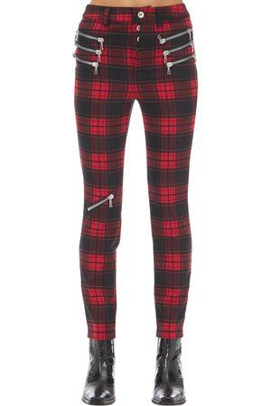 UNRAVEL Women Slim & Skinny Trousers - Triple Zipped Plaid Skinny Pants