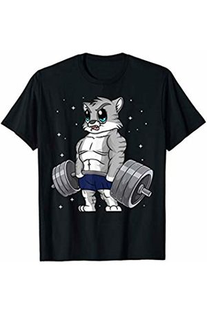 Cat Weight Lifting Tshirt Gift Funny Cute Kitty Weightlifting Deadlift Deadlifting Gym T-Shirt