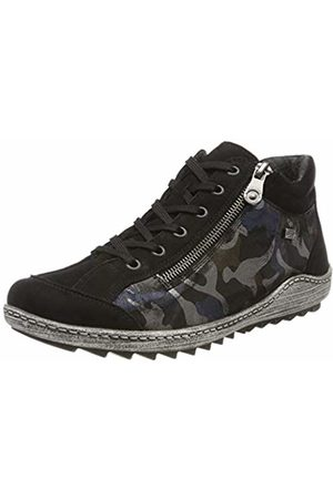 2012b466 Remonte Women's R1483 Low-Top Sneakers, Blau-Camouflage/Schwarz 03