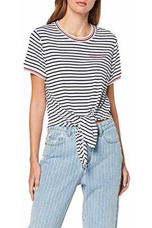 Tommy Hilfiger Women's Tjw Front Tie Contrast Rib Tee Sports Knitwear, ( Iris/Classic 002)