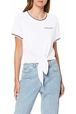 Tommy Hilfiger Women's Tjw Front Tie Contrast Rib Tee Sports Knitwear, Classic 100