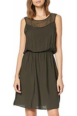 Vero Moda Women's Vmdepo S/l Mesh Yoke Dress Exp, Peat