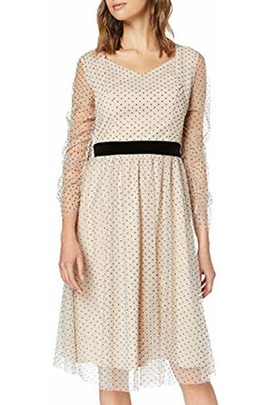 Apart Women's Mesh Dress with Dots Party, Nude
