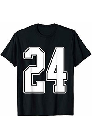 Sports Team Halloween Football Group Costume Tees #24 White Outline Number 24 Sports Fan Jersey Style T-Shirt