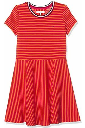 Tommy Hilfiger Girl's Stripe Knit Skater Dress, (Virtual /Russet 638)