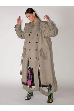 Maison Margiela Long Cotton Blend Trench Coat W/cutouts