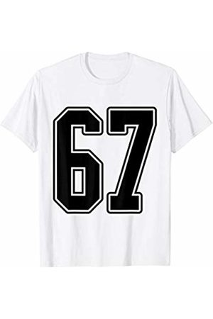 Sports Team Halloween Football Group Costume Tees #67 Black Outline Number 67 Sports Fan T-Shirt