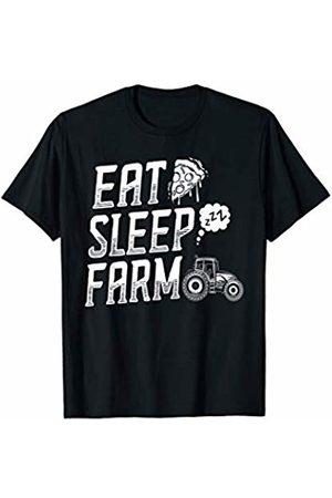 Modern Tees Farm Tshirts Farming T-Shirt Dad Mom Eat Sleep Farm Short Sleeve Rancher T-Shirt
