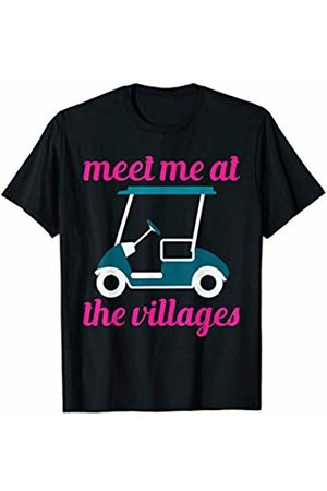 BW Funny Tops Meet Me At The Villages Florida Golf Cart Fun T-Shirt