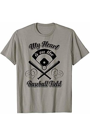 JK Baseball Sports Designs My Heart Is On The Baseball Field Mom Dad Sports T-Shirt