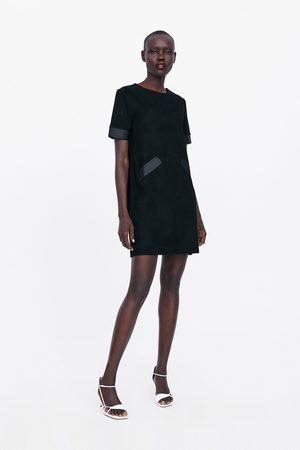 Zara Trimmed faux suede dress