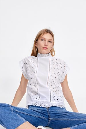 Zara Top with cutwork embroidery