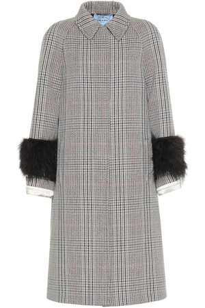 Prada Feather-trimmed wool-blend coat