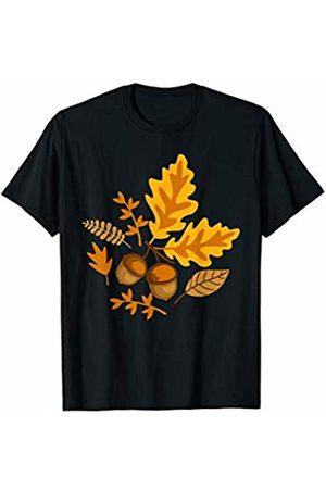 Hadley Designs Autumn Leaves and Acorns Fall for Women Halloween Cute T-Shirt
