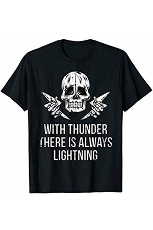 Dark Humor Workout Gym Tees Dark Humor Shirts With Thunder There is Lightning Skull Gym T-Shirt