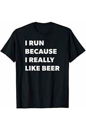 Workout Exercise Running Marathon Runner Tees I Run Because I Really Like Beer Funny Runner Joke Saying T-Shirt