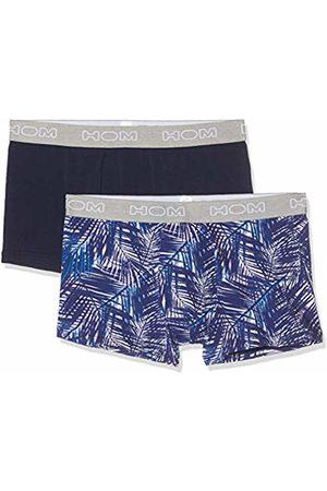 Hom Men's Bahamas #2 Boxer Briefs 2p Shorts, (Lot De 2: Imprimé Palmes Marine Uni D015)