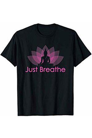 Yoga Design UK Co. Just Breathe Buddha Lotus Flower Mindfulness Yoga T Shirts