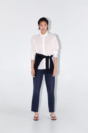 Zara Embroidered polka dot shirt