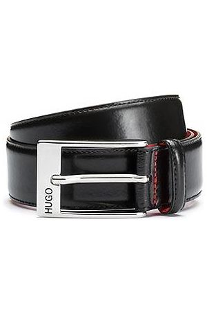 HUGO BOSS Calf-leather belt with polished silver-tone buckle
