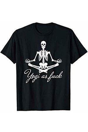 Dark Humor Workout Gym Tees Yoga Skeleton Shirt Yogi as fuck skull Buddhist Meditation T-Shirt