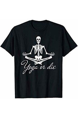 Dark Humor Workout Gym Tees Yoga Skeleton Shirt Yoga or Die skull Buddhist Meditation T-Shirt