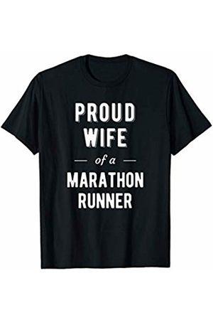 Family Marathon Support Shirts Proud Wife of a Marathon Runner T Shirt