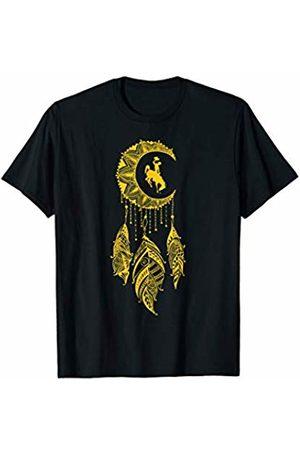 FanPrint Wyoming Cowboys Mandala Moon - Logo Hanging T-Shirt