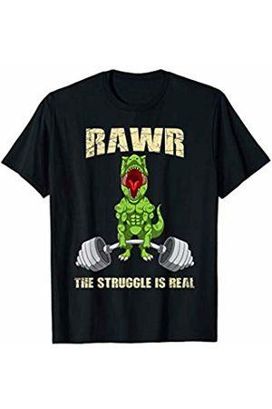 Fun Dinosaur Bodybuilder Sports Gear Gift Idea T-Rex RAWR The Struggle Is Real Weightlifting Fitness Gym T-Shirt