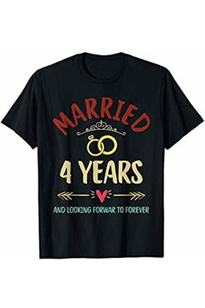 Medotukito 4th Wedding Anniversary Married Looking Forward To Forever T-Shirt