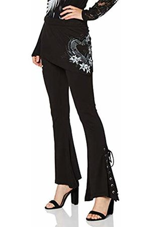Spiral Direct Women's Pure of Heart-2In1 Boot-Cut Micro Slant Skirt Leggings, 001
