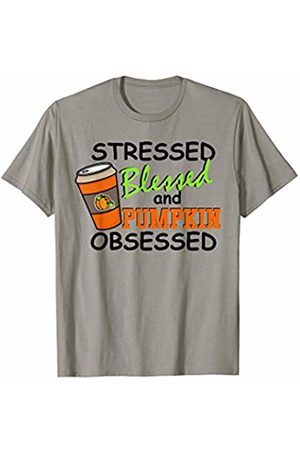 Hadley Designs Stressed Blessed and Pumpkin Spice Obsessed Fall Autumn Cute T-Shirt