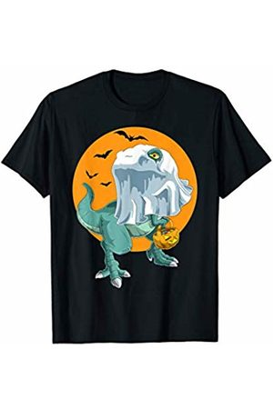 TheHolidayCouture Women T-shirts - Halloween Trick or Treat Funny T-Rex Dinosaur Ghost T-Shirt