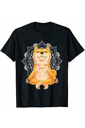 NipoCutie Yoga Funny Meditating Yoga Shiba Inu Dog with Lotus Mandala T-Shirt