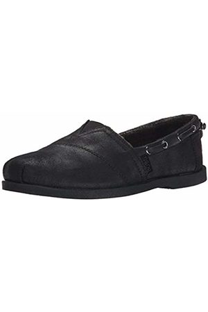 Skechers Women Ballerinas - Women's CHILL Luxe-Buttoned UP Boat Shoes, Micro Leather/Microfiber Suede/Chenille Line/# ^ BBK