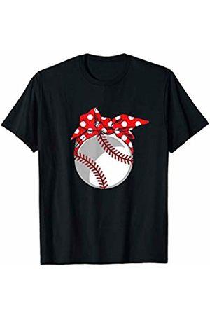 Tropique Sports Mom Gift Apparel Baseball Sport Mom Red Polka Dot Bandana Gift T-Shirt