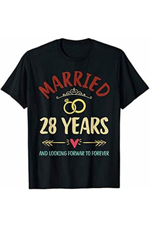 Medotukito 28th Wedding Anniversary Married Looking Forward To Forever T-Shirt