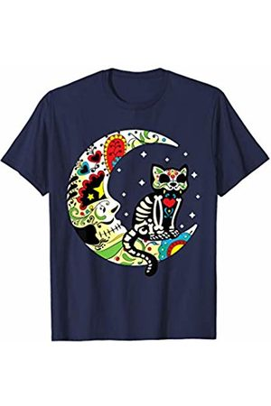 TheHolidayCouture Dia de Los Muertos Halloween Sugar Skull Cat and Moon T-Shirt