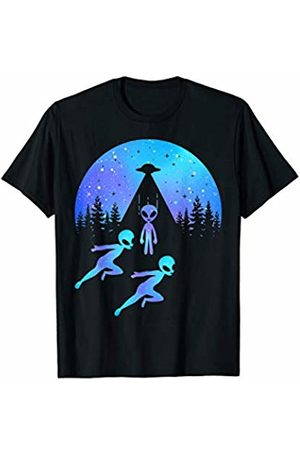 Let's See Them Aliens Official Gear Alien Raid Roswell Running Aliens Spaceship Beamed Up T-Shirt