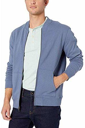 Goodthreads Men's Fleece Bomber Sweatshirt, Blue (Denim)