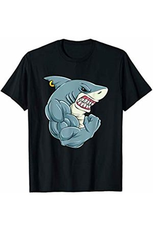 Funny Muscle Biceps Tee Shirt Gift Fitness T-Shirt Shark At The Gym Training | Men Women Kids