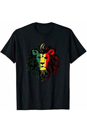 Miftees Women T-shirts - Rasta Lion Face novelty Lion Face Rasta Colors T-Shirt