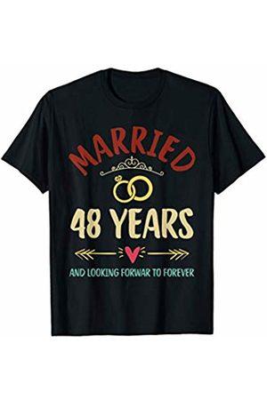 Medotukito Women T-shirts - 48th Wedding Anniversary Married Looking Forward To Forever T-Shirt