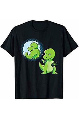 Nerd Ninja Men T-shirts - Dinosaur Weight Lifting Dumbbells Fitness Goals Gym Workout T-Shirt